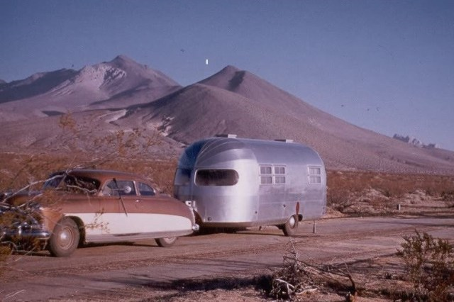 1950s airstream with vintage car