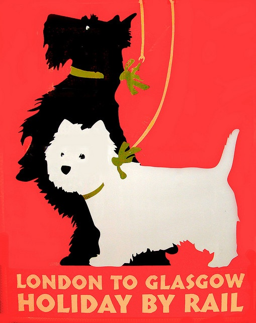 London to Glasgow vintage travel ad with scottie dogs