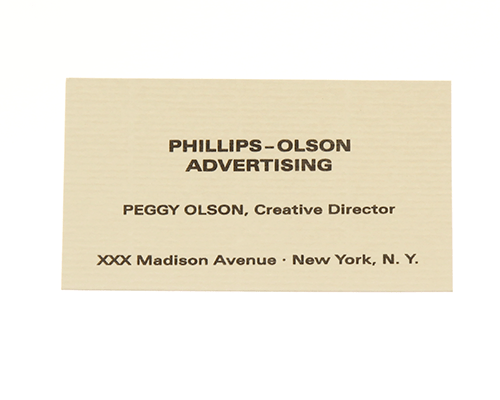 peggy olson business cards, mad men