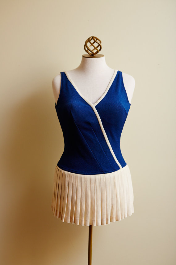 1950s vintage swimsuit with pleated skirt
