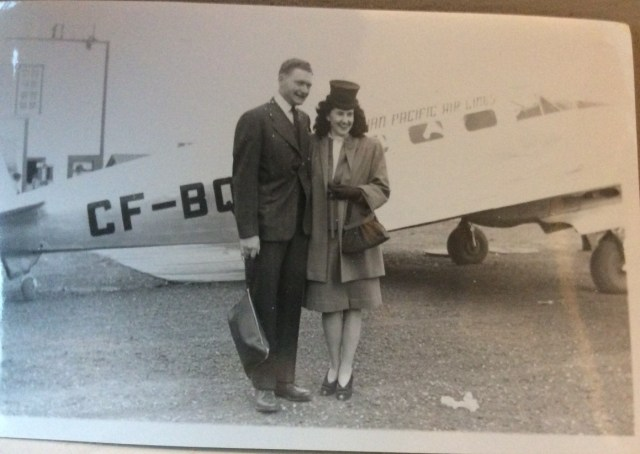 Canadian Pacific Airline vintage photo of couple before flight