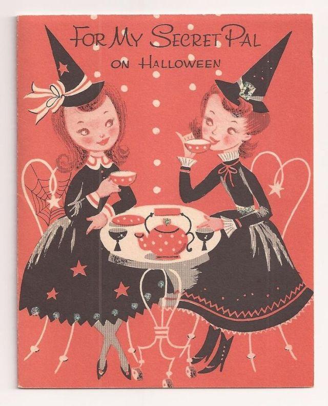 1950s vintage halloween card