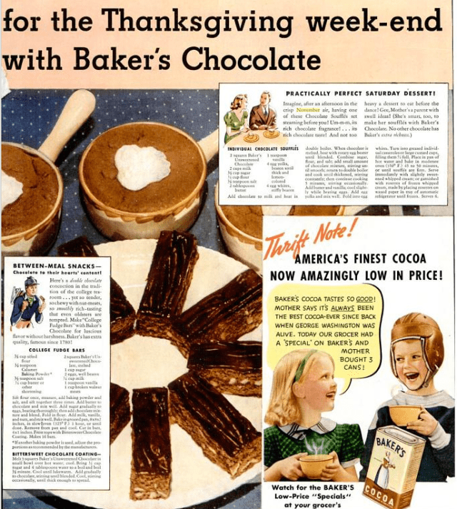 Vintage Bakers Chocolate ad