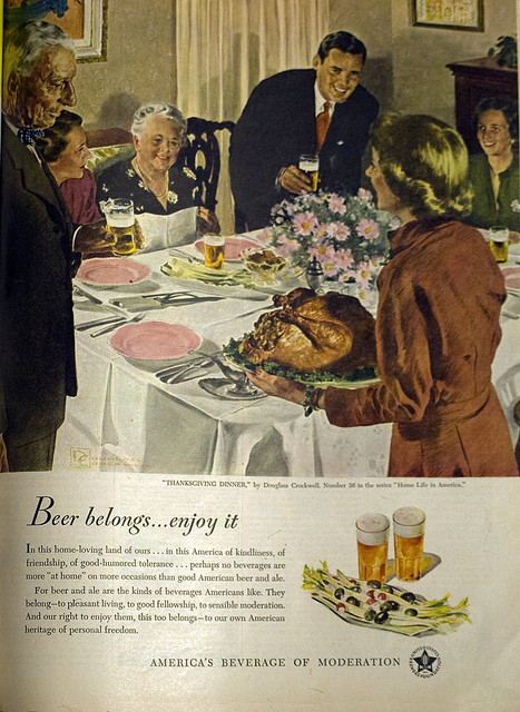 beer-at-thanksgiving vintage ad
