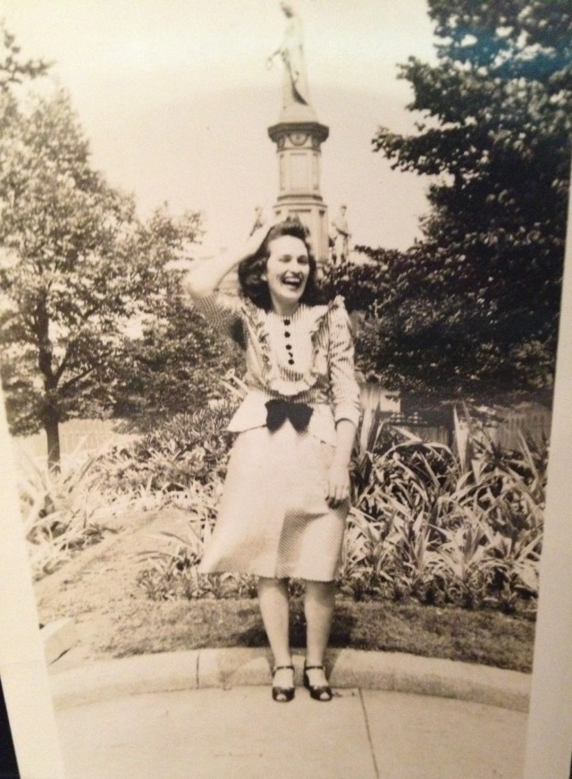 1940s woman in a pretty dress
