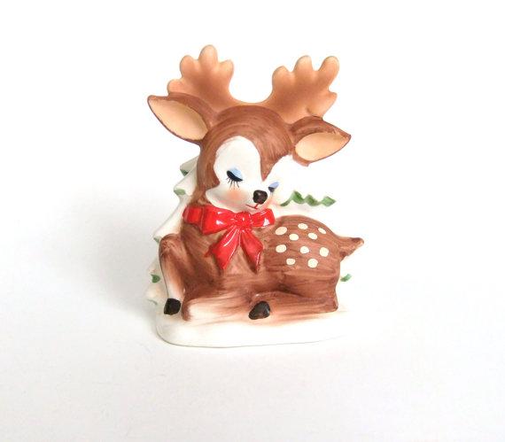 vintage christmas reindeer napkin holder