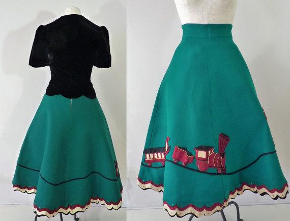 1950s felt novelty christmas skirt with train