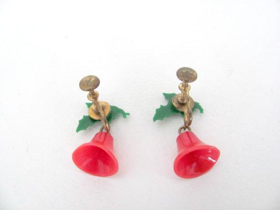 1960s vintage bell christmas earrings