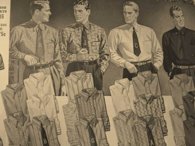 Late 1940, early 1941 Men's vintage shirts and ties from Eatons Catalog