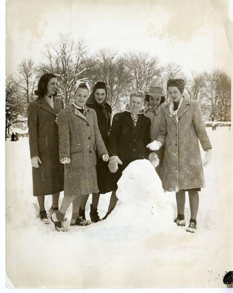 1940s women in the snow, vintage image