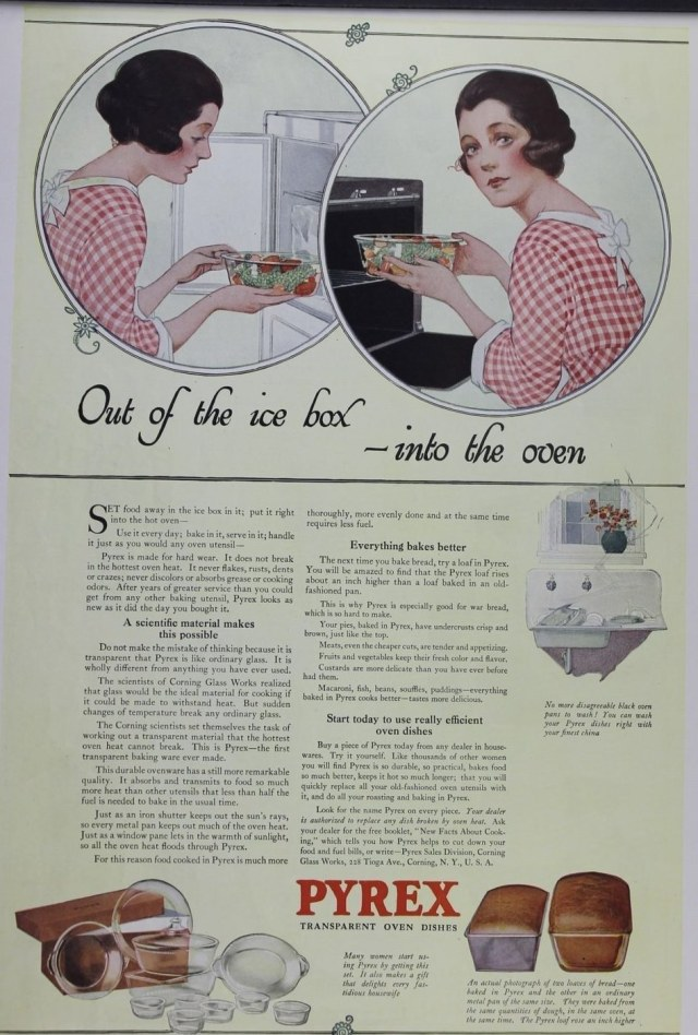 1918 CORNING PYREX GLASS OVEN BREAD BAKE KITCHEN HOME DECOR VINTAGE AD