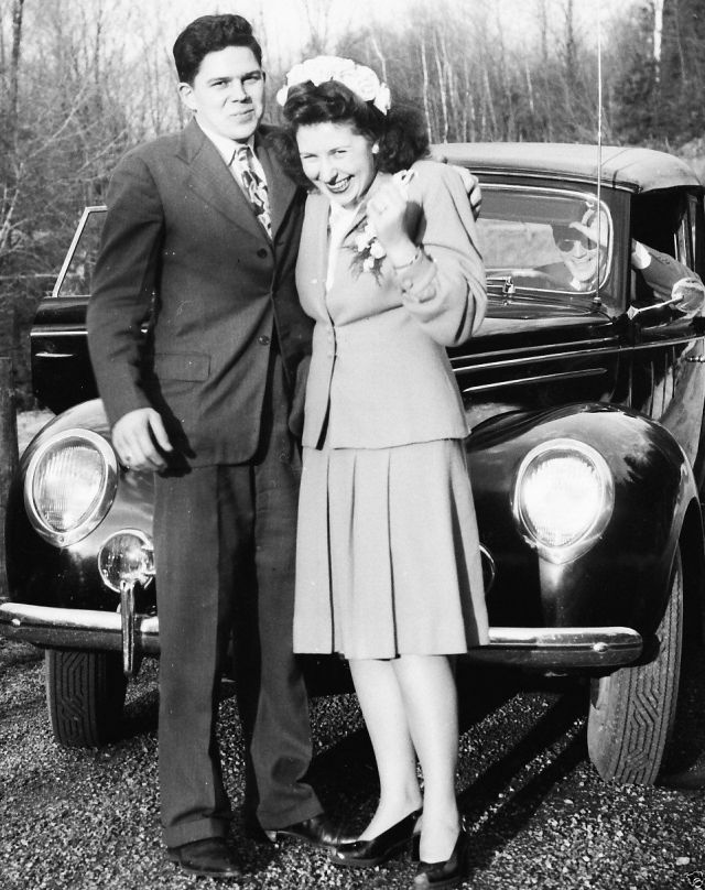 Just Married Couple Posing 1950's Grand Forks, BC Vintage Photo