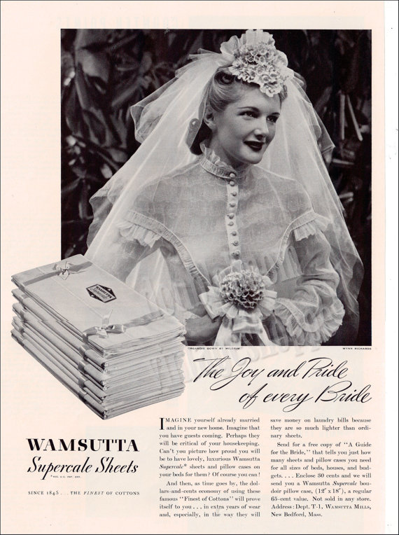 1940s vintage ad for sheets with bride