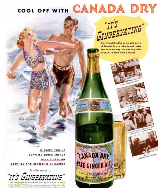 1940s Vintage Canada Dry Ginger Ale Ad