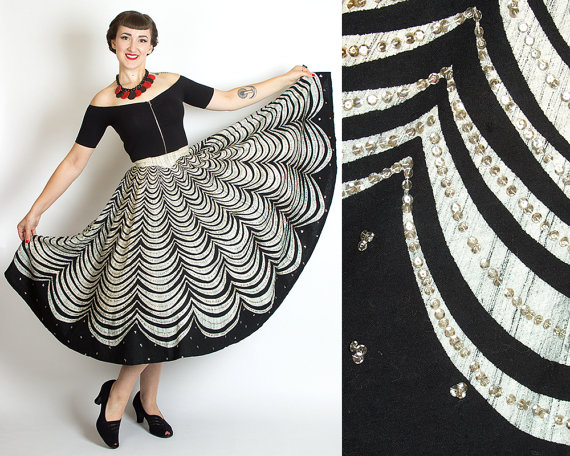 Vintage 50s SEQUINED Mexican Hand Painted CIRCLE Skirt