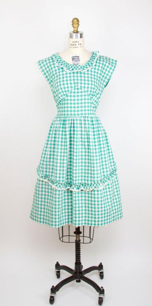 1940s Dress // Green Gingham Ruffle Sundress