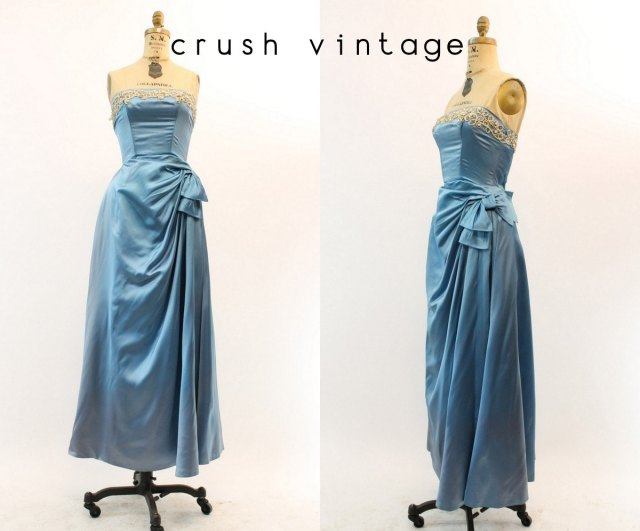 50s Dress Emma Domb XS / 1950s Vintage Strapless Beaded Liquid Satin Gown