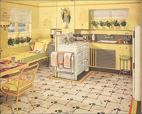 1941 Yellow & Green Armstrong Kitchen