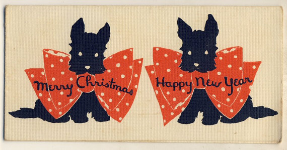 1920s antique christmas card with scottie dogs vintage