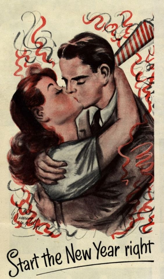 1940s new years vintage illustration couple kissing