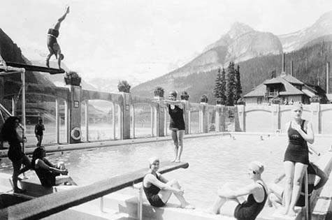 1930s swimming in the pool at Chateau Lake Louise