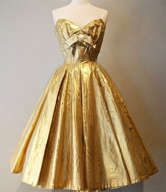 Gold vintage dress 1950s cocktail waitress