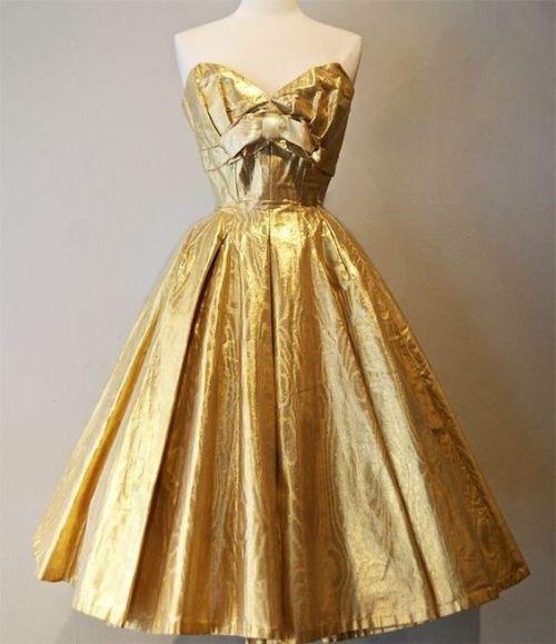 Vintage 1950s Suzy Perette Gold Lame