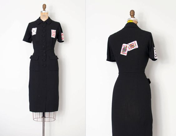 vintage 1940s dress playing card novelty applique black 40s wiggle dress