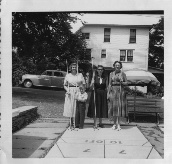 1950s vintage photo people playing shuffleboard