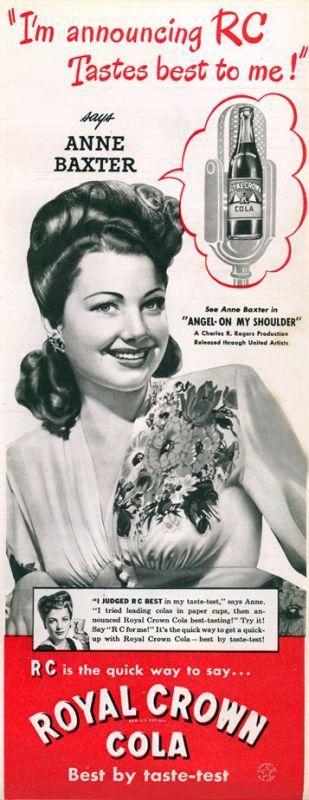 Anne Baxter RC Cola 1940s vintage ad