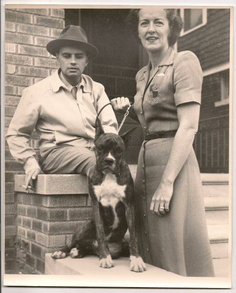 Mouse over image to zoom Have one to sell? Sell it yourself Details about 1940's-1950's image of young couple on steps with their beloved boxer dog vintage image