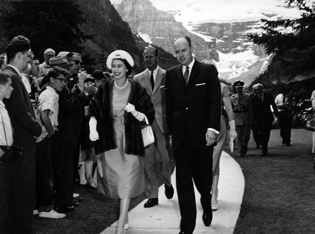 Queen Elizabeth the second at Chateau Lake Louise vintage image
