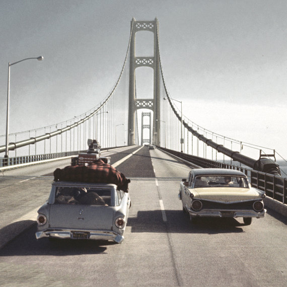 60s Family Vacation Crossing Mackinac Bridge Original Photo