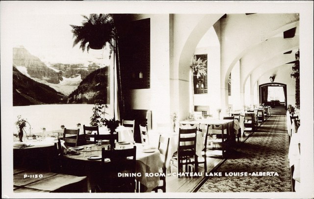 vintage image of the dining room of the chateau lake louise