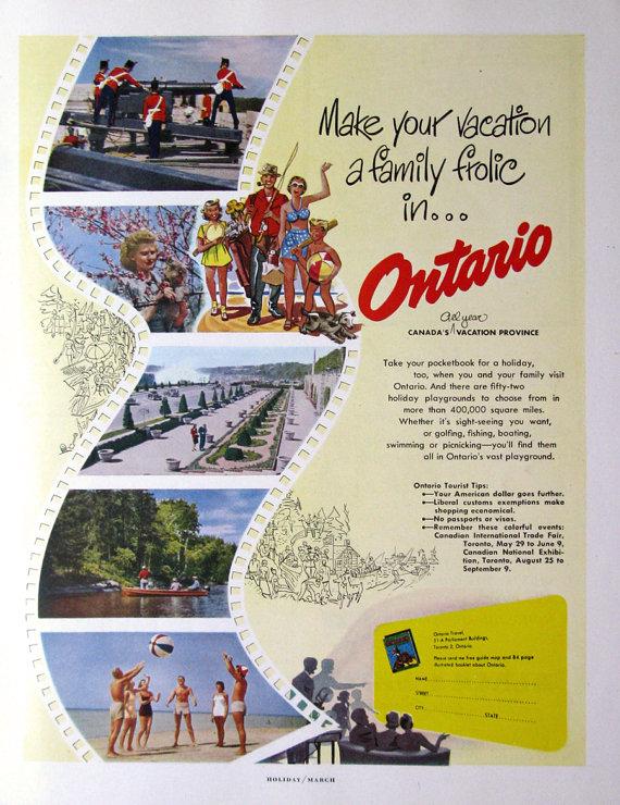 1950's ontario vintage advertising