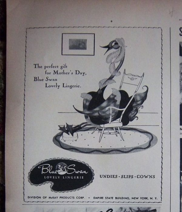 1948 Vintage Blue Swan Undies Slips Gowns for Mother's Day Ad