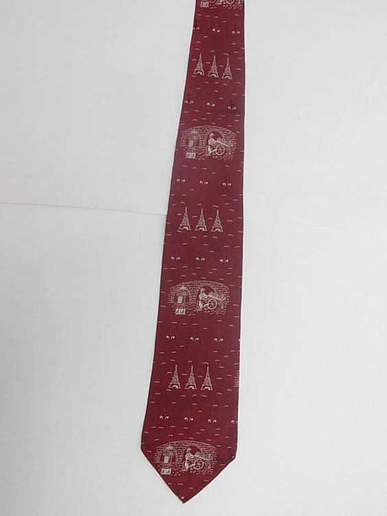 1950s vintage tie with paris theme