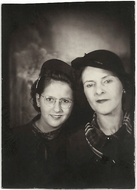 Mother and Daughter Woman wearing Hat Girl wearing Glasses 1930s Photograph snapshot Vintage Souvenir Photo
