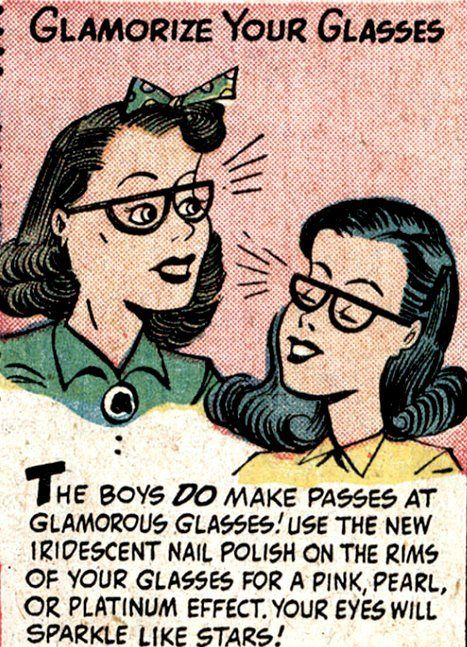 vintage comic strip about a girl wearing glasses 1940 1950s