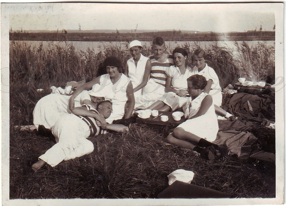 1930s vintage picnic image by the lake