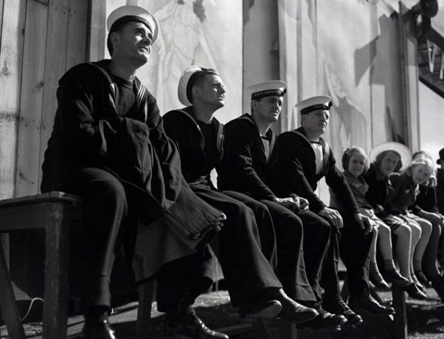 Canadian sailors 1941 watching Bill Lynch Carnival show Nova Scotia Archives