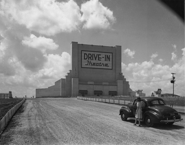 drive in movie theatre vintage image