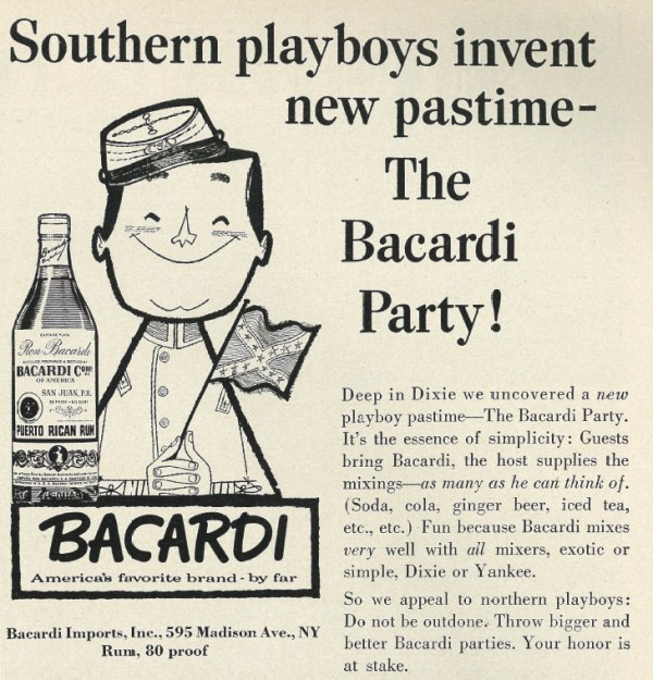 1959 Illustrated Liquor Ad, Playboy, Barcardi Puerto Rican Rum, Southern Playboys & The Bacardi Party