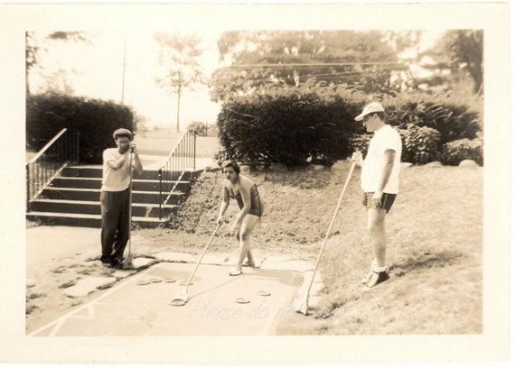 1940's Shuffleboard ~ Vintage Snapshot Photo
