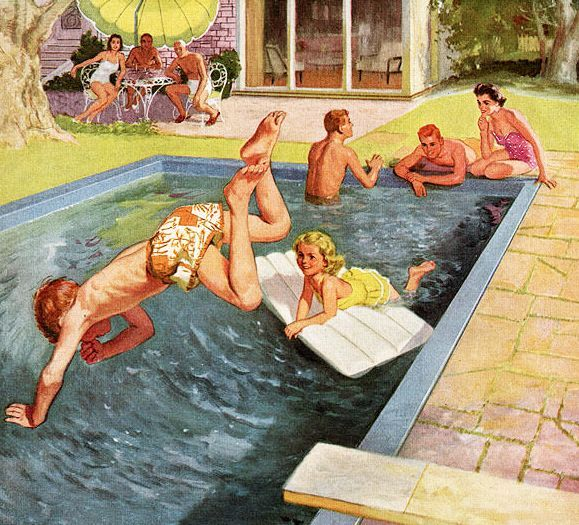 1950s pool swimming illustration