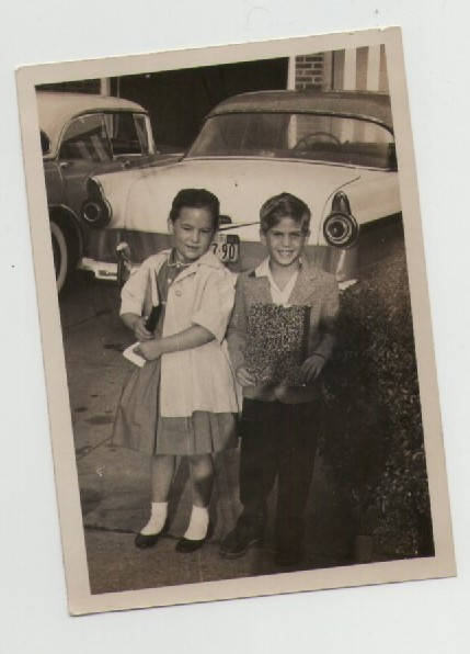 1950s back to school photo of two children vintage
