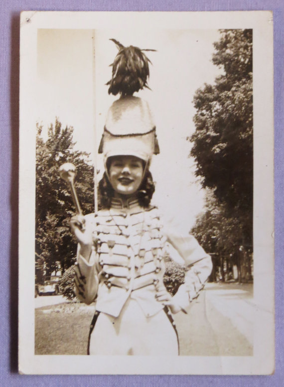 Vintage 1940's Cute High School Majorette Ready For Parade