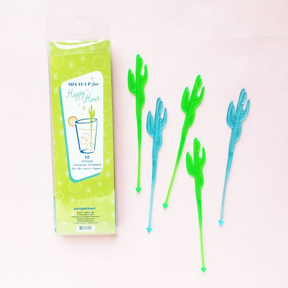 Vintage Cocktail Stirrers: Desert Cactus