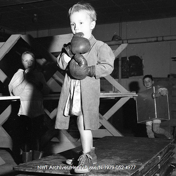 1950s little boy as a boxer halloween costume vintage photo