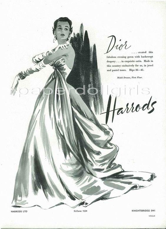 UK Vogue 1953 Magazine Advertisement CHRISTIAN DIOR Evening Gown